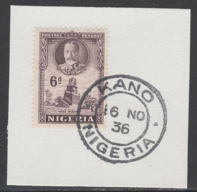 Nigeria 1936 KG5 Pictorial 6d dull violet, SG 40 on piece with full strike of Madame Joseph forged postmark type 302