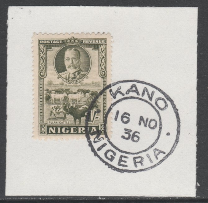 Nigeria 1936 KG5 Pictorial 1s sage green, SG 41 on piece with full strike of Madame Joseph forged postmark type 302