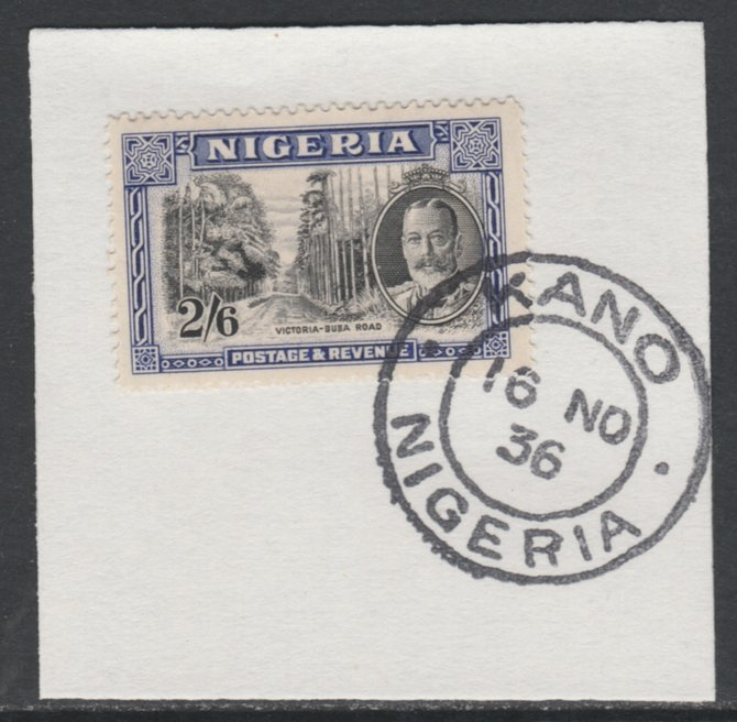 Nigeria 1936 KG5 Pictorial 2s6d black & ultramarine, SG 42 on piece with full strike of Madame Joseph forged postmark type 302