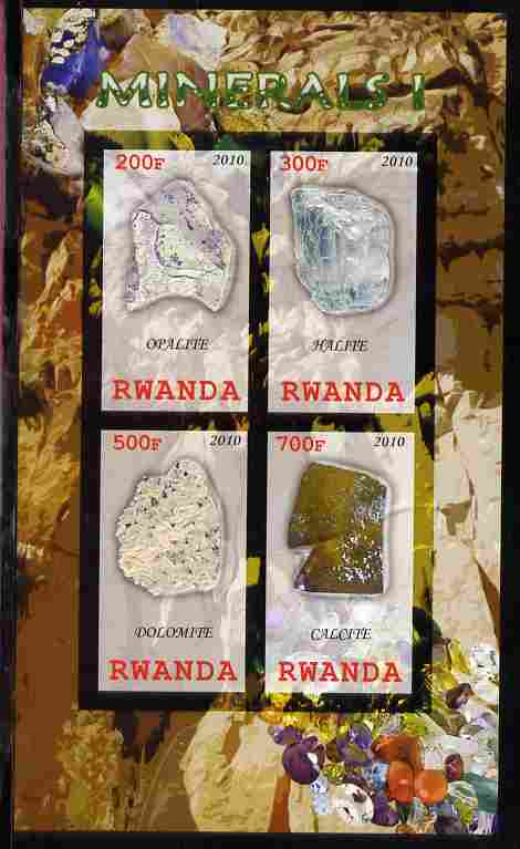 Rwanda 2010 Minerals #1 imperf sheetlet containing 4 values unmounted mint