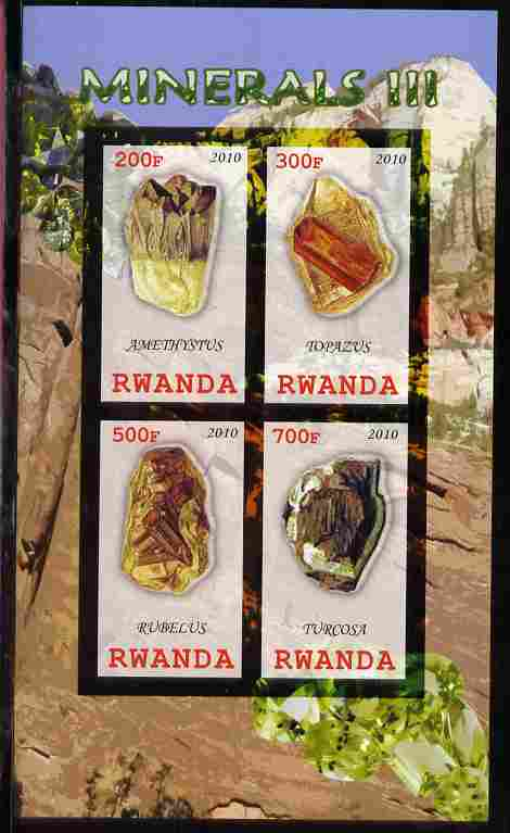 Rwanda 2010 Minerals #3 imperf sheetlet containing 4 values unmounted mint