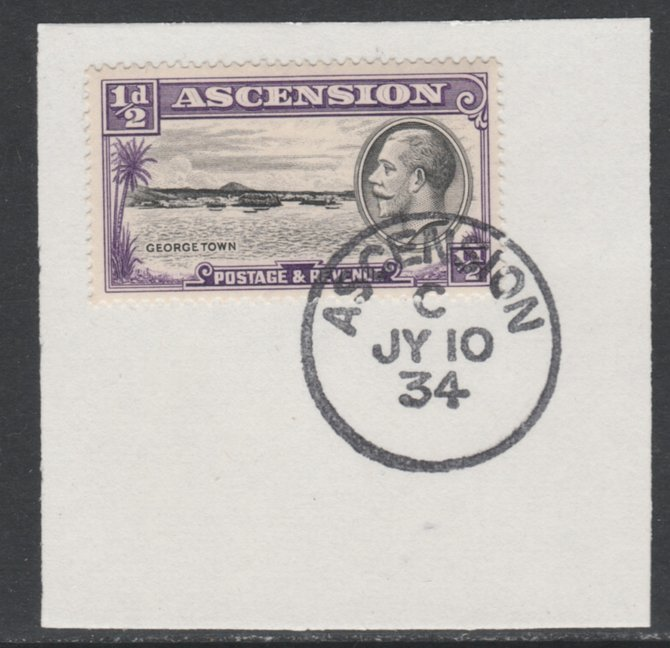 Ascension 1934 KG5 Pictorial 1/2d Georgetown SG 21 on piece with full strike of Madame Joseph forged postmark type 21
