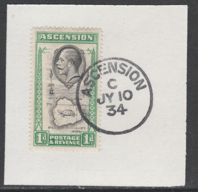 Ascension 1934 KG5 Pictorial 1d Map SG 22 on piece with full strike of Madame Joseph forged postmark type 21
