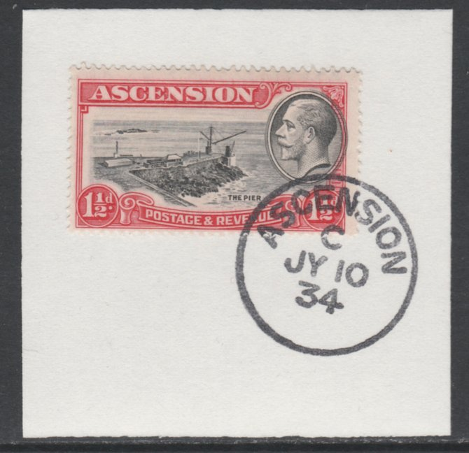 Ascension 1934 KG5 Pictorial 1.5d Pier SG 23 on piece with full strike of Madame Joseph forged postmark type 21