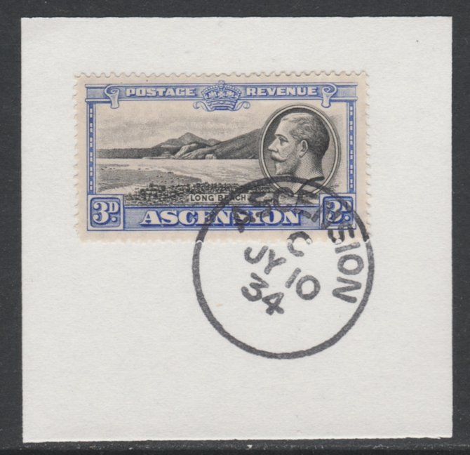 Ascension 1934 KG5 Pictorial 3d Long Beach SG 25 on piece with full strike of Madame Joseph forged postmark type 21