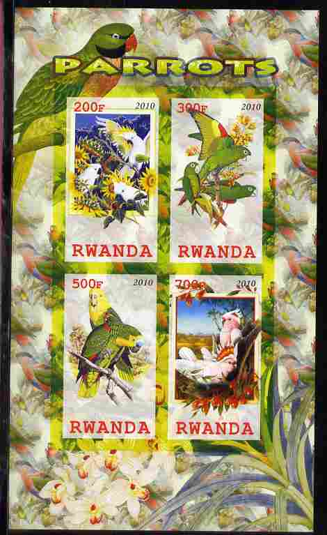 Rwanda 2010 Parrots imperf sheetlet containing 4 values unmounted mint