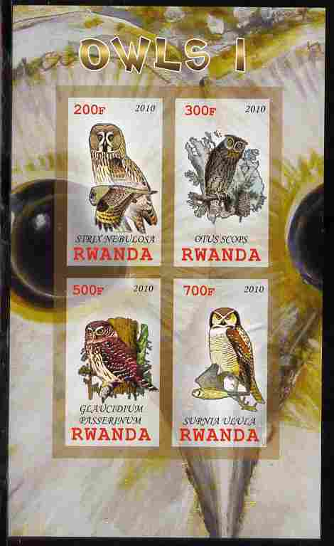 Rwanda 2010 Owls #1 imperf sheetlet containing 4 values unmounted mint