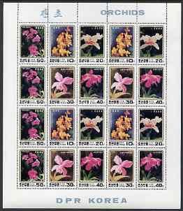 North Korea 1993 Orchids sheetlet containing 20 values (4 sets)