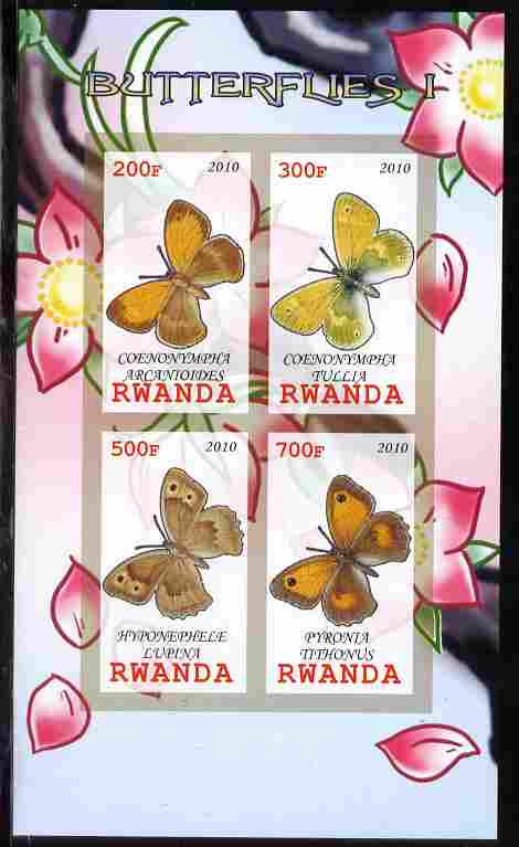 Rwanda 2010 Butterflies #1 imperf sheetlet containing 4 values unmounted mint