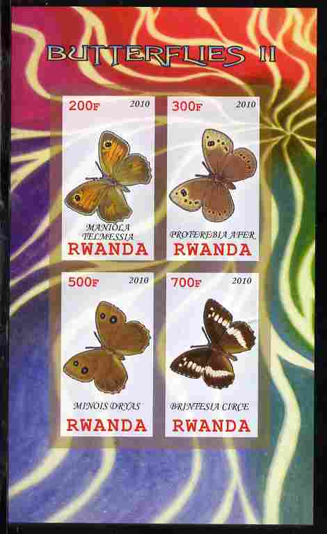 Rwanda 2010 Butterflies #2 imperf sheetlet containing 4 values unmounted mint