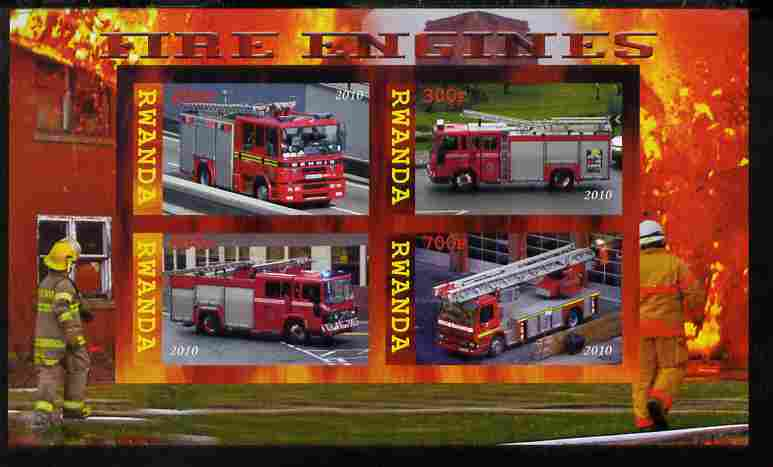 Rwanda 2010 Fire Engines imperf sheetlet containing 4 values unmounted mint