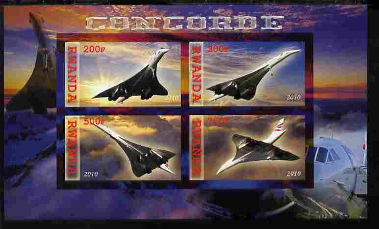 Rwanda 2010 Concorde imperf sheetlet containing 4 values unmounted mint