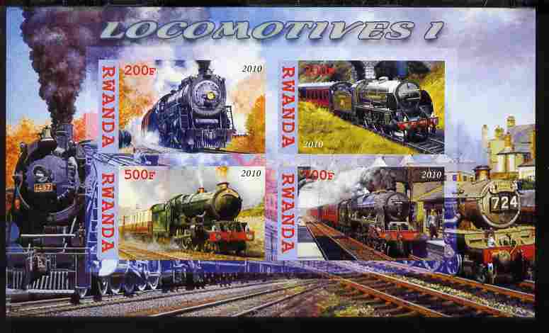 Rwanda 2010 Steam Locomotives #1 imperf sheetlet containing 4 values unmounted mint