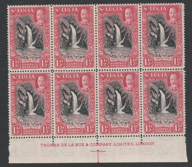 St Lucia 1936 KG5 Pictorial 1.5d black & scarlet De La Rue imprint block of 8 unmounted mint, SG 115