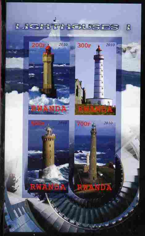 Rwanda 2010 Lighthouses #1 imperf sheetlet containing 4 values unmounted mint