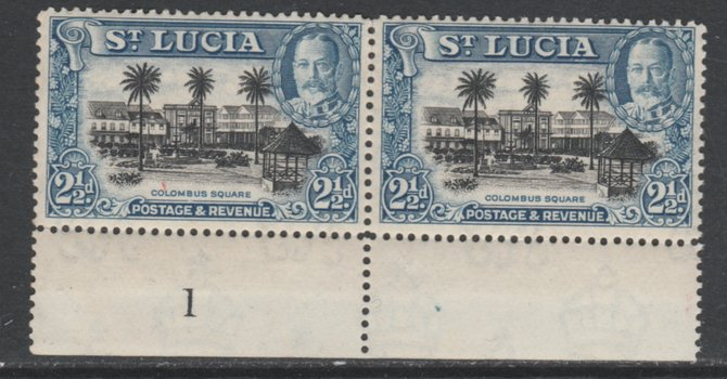 St Lucia 1936 KG5 Pictorial 2.5d black & blue marginal pair with Plate number 1 unmounted mint, SG 117