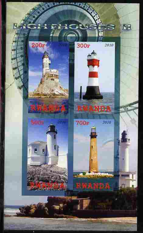 Rwanda 2010 Lighthouses #2 imperf sheetlet containing 4 values unmounted mint