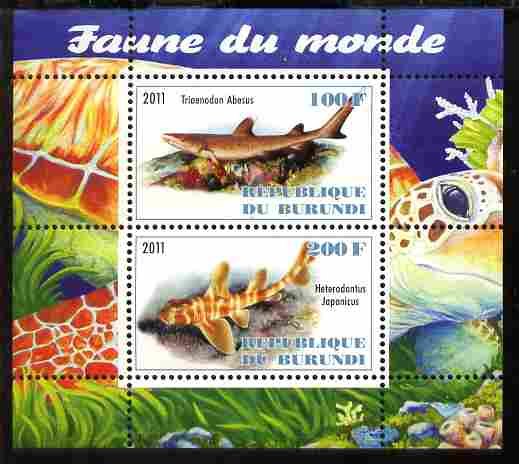 Burundi 2011 Fauna of the World - Sharks #1 perf sheetlet containing 2 values unmounted mint