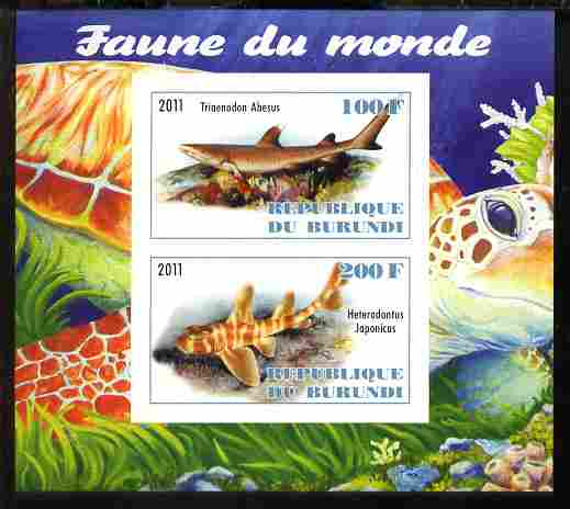 Burundi 2011 Fauna of the World - Sharks #1 imperf sheetlet containing 2 values unmounted mint