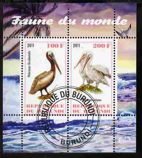 Burundi 2011 Fauna of the World - Pelicans perf sheetlet containing 2 values fine cto used