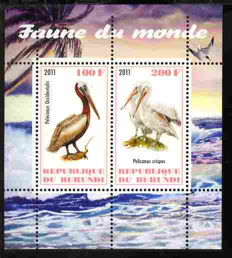 Burundi 2011 Fauna of the World - Pelicans perf sheetlet containing 2 values unmounted mint
