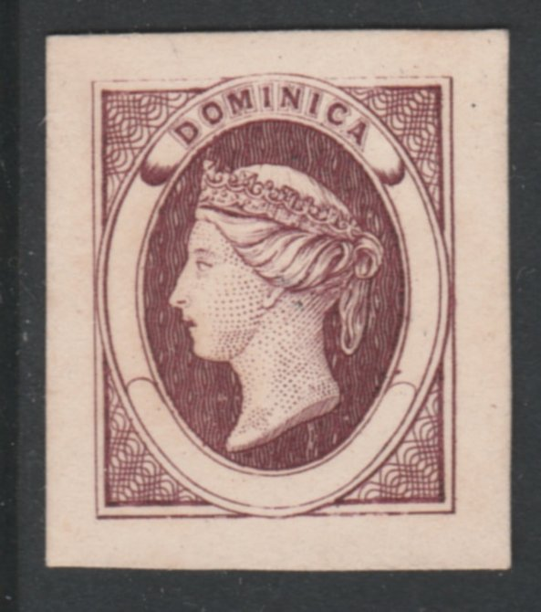 Dominica 1870 Bogus Die Proof in claret imperf on thin card produced by the Boston Gang. Described in full in Toeg