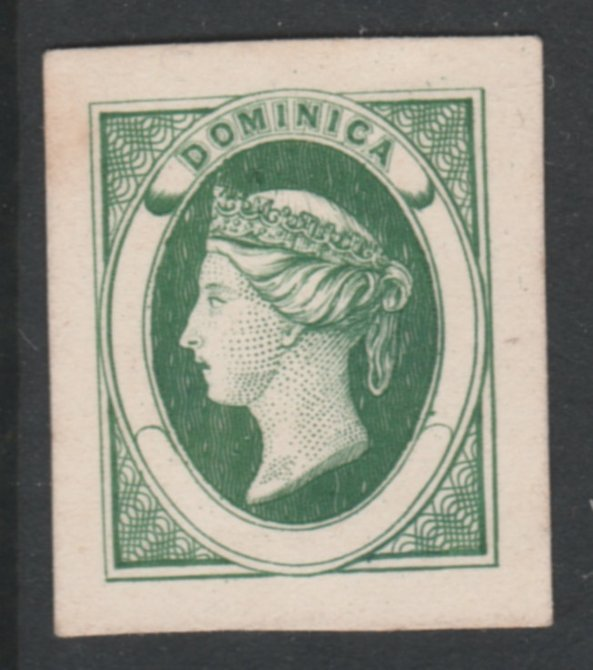 Dominica 1870 Bogus Die Proof in green imperf on thin card produced by the Boston Gang. Described in full in Toeg