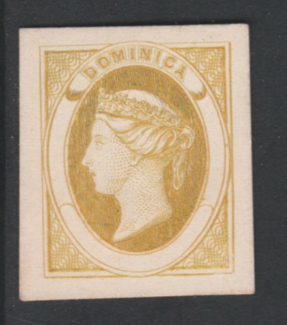 Dominica 1870 Bogus Die Proof in ochre imperf on thin card produced by the Boston Gang. Described in full in Toeg