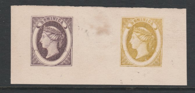 Dominica 1870 Bogus Die Proofs in violet & ochre imperf on thin card produced by the Boston Gang, similar to the piece illustrated in Toeg