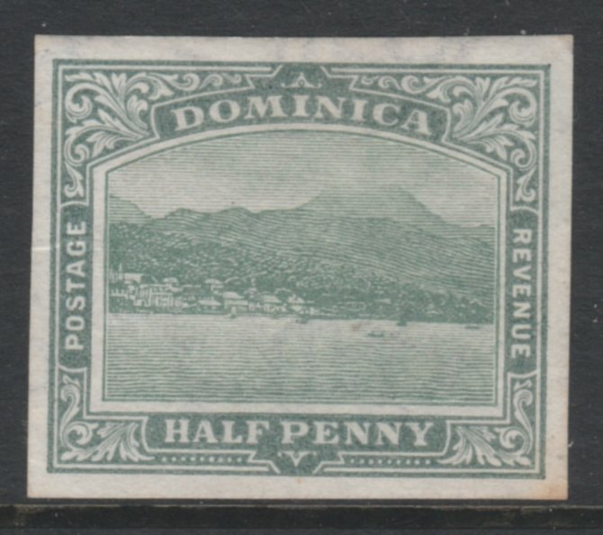 Dominica 1907 Roseau 1/2d green wmk Multiple Crown CA fine mint imperf plate proof as SG37