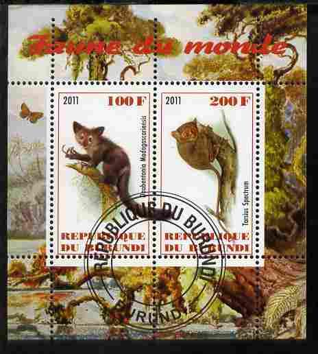 Burundi 2011 Fauna of the World - Lemurs perf sheetlet containing 2 values fine cto used