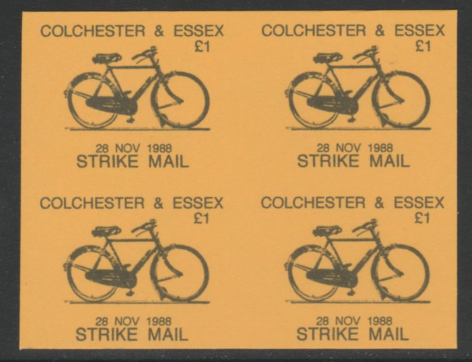 Cinderella - Great Britain 1988 Colchester & Essex \A31 Strike Mail label black on yellow showing Bicycle and dated 28 Nov 1988 imperf proof block of 4 on ungummed paper