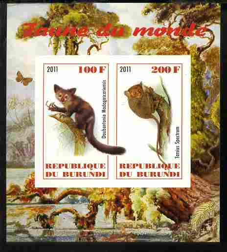 Burundi 2011 Fauna of the World - Lemurs imperf sheetlet containing 2 values unmounted mint
