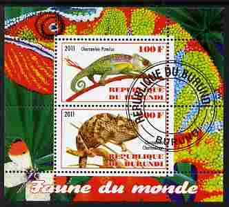 Burundi 2011 Fauna of the World - Chaemeleons perf sheetlet containing 2 values fine cto used