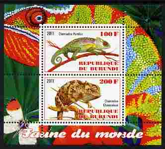 Burundi 2011 Fauna of the World - Chaemeleons perf sheetlet containing 2 values unmounted mint