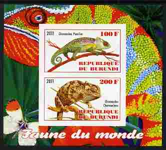 Burundi 2011 Fauna of the World - Chaemeleons imperf sheetlet containing 2 values unmounted mint
