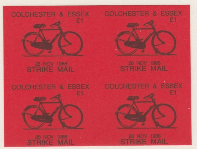 Cinderella - Great Britain 1988 Colchester & Essex \A31 Strike Mail label black on red showing Bicycle and dated 28 Nov 1988 imperf proof block of 4 on ungummed paper