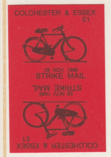 Cinderella - Great Britain 1988 Colchester & Essex \A31 Strike Mail label black on red showing Bicycle and dated 28 Nov 1988 imperf tete-beche proof pair on ungummed paper