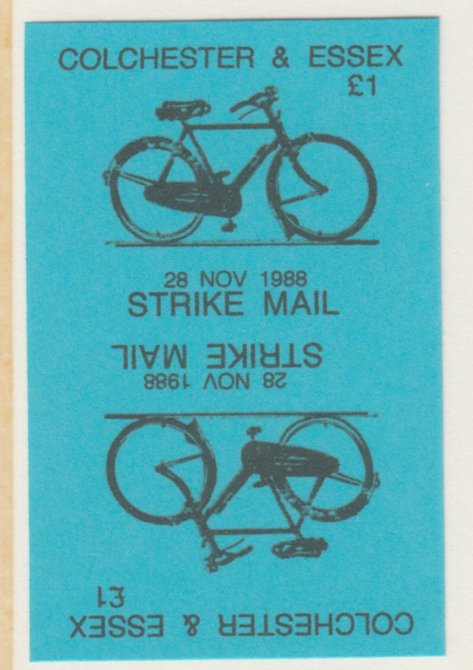 Cinderella - Great Britain 1988 Colchester & Essex \A31 Strike Mail label black on blue showing Bicycle and dated 28 Nov 1988 imperf tete-beche proof pair on ungummed paper
