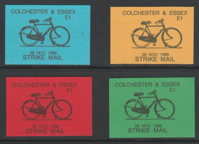 Cinderella - Great Britain 1988 Colchester & Essex �1 Strike Mail - 4 imperf labels in red, blue, yellow & green on ungummed paper, showing Bicycle and dated 28 Nov 1988