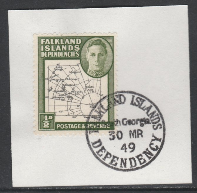 Falkland Islands Dependencies 1946-49 KG6 Thick Maps 1/2d on piece with full strike of Madame Joseph forged postmark type 158, SG G1
