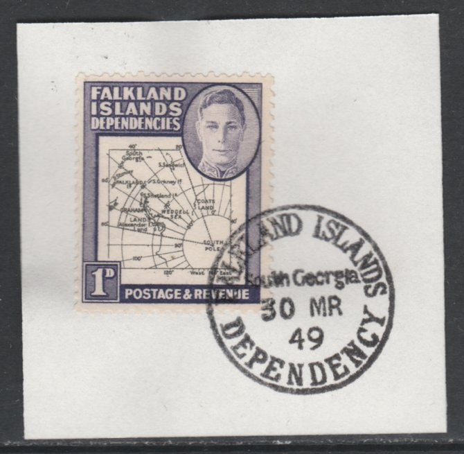 Falkland Islands Dependencies 1946-49 KG6 Thick Maps 1d on piece with full strike of Madame Joseph forged postmark type 158, SG G2