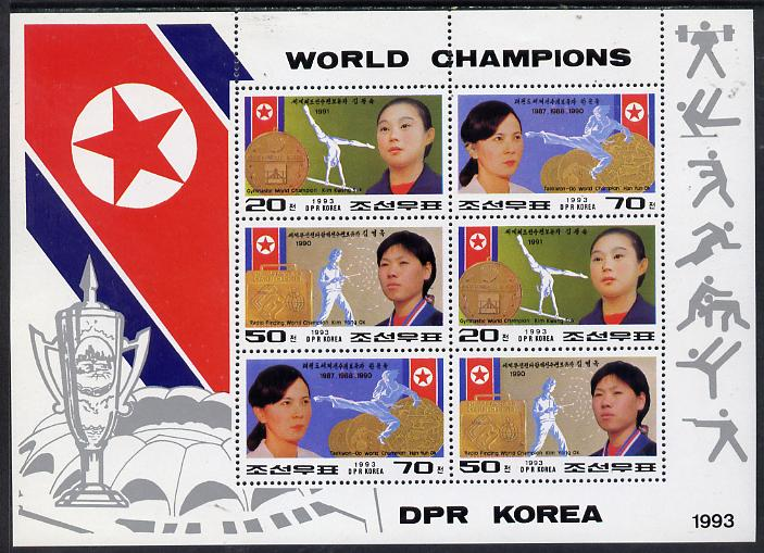 North Korea 1993 World Champions sheetlet #2 containing 2 each of 20ch, 50ch & 70ch values unmounted mint