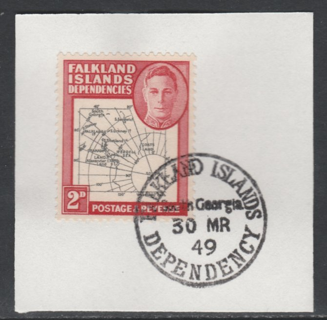 Falkland Islands Dependencies 1946-49 KG6 Thick Maps 2d on piece with full strike of Madame Joseph forged postmark type 158, SG G3