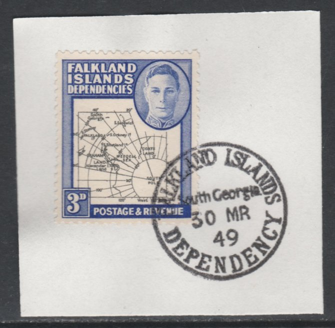 Falkland Islands Dependencies 1946-49 KG6 Thick Maps 3d on piece with full strike of Madame Joseph forged postmark type 158, SG G4