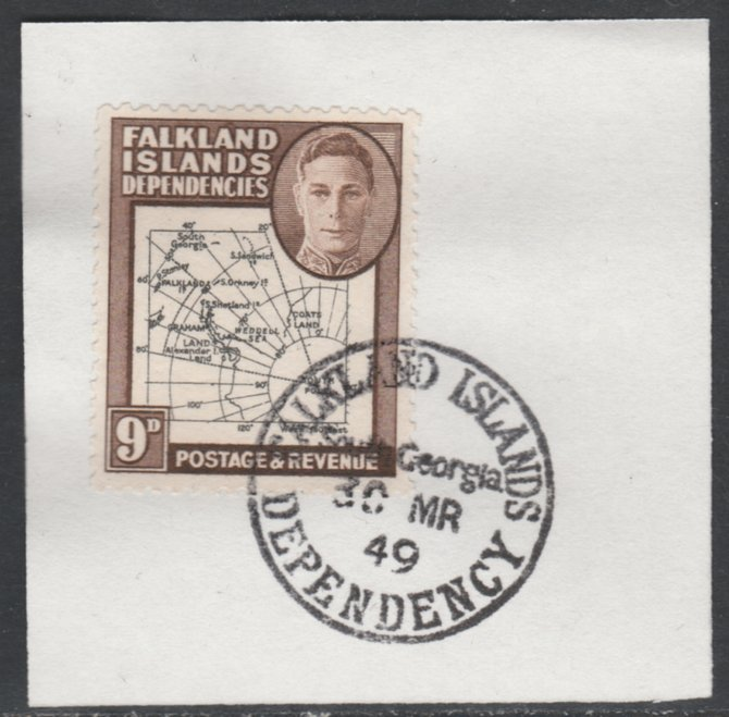 Falkland Islands Dependencies 1946-49 KG6 Thick Maps 9d on piece with full strike of Madame Joseph forged postmark type 158, SG G7