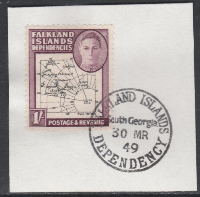 Falkland Islands Dependencies 1946-49 KG6 Thick Maps 1s on piece with full strike of Madame Joseph forged postmark type 158, SG G8