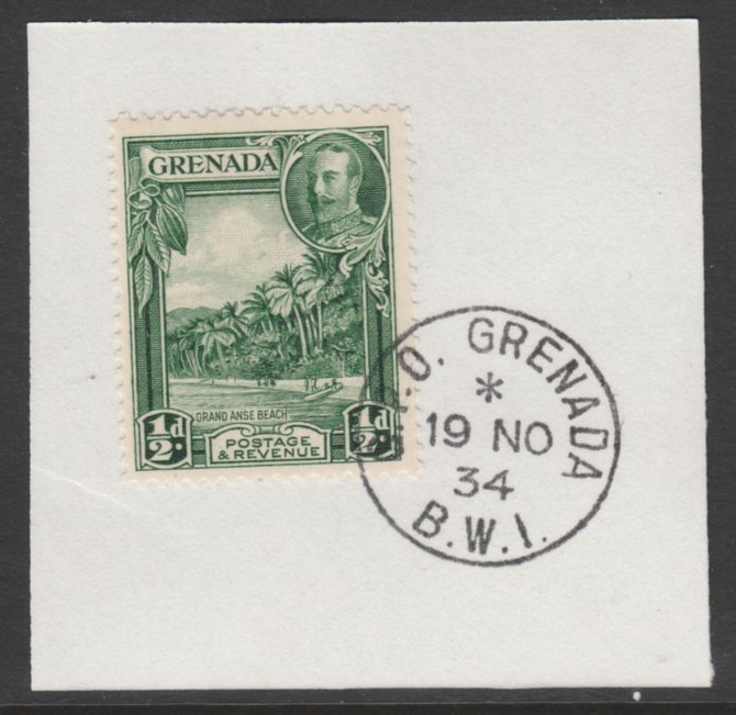 Grenada 1934-36 KG5 Pictorial 1/2d green P12.5 (SG 135) on piece with full strike of Madame Joseph forged postmark type 201