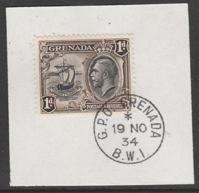 Grenada 1934-36 KG5 Pictorial 1d black & sepia P12.5 (SG 136) on piece with full strike of Madame Joseph forged postmark type 201