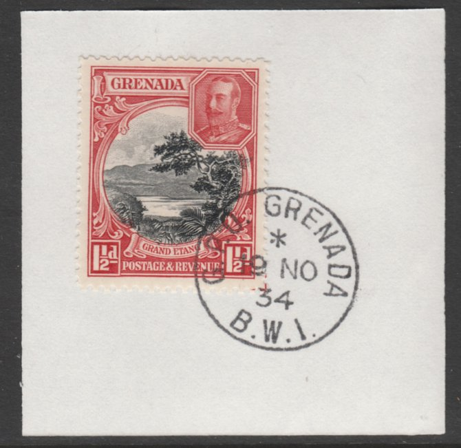 Grenada 1934-36 KG5 Pictorial 1.5d black & scarlet P12.5 (SG 137) on piece with full strike of Madame Joseph forged postmark type 201